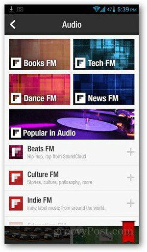 Spill SoundCloud og Internet Audio Streams i Flipboard for Android